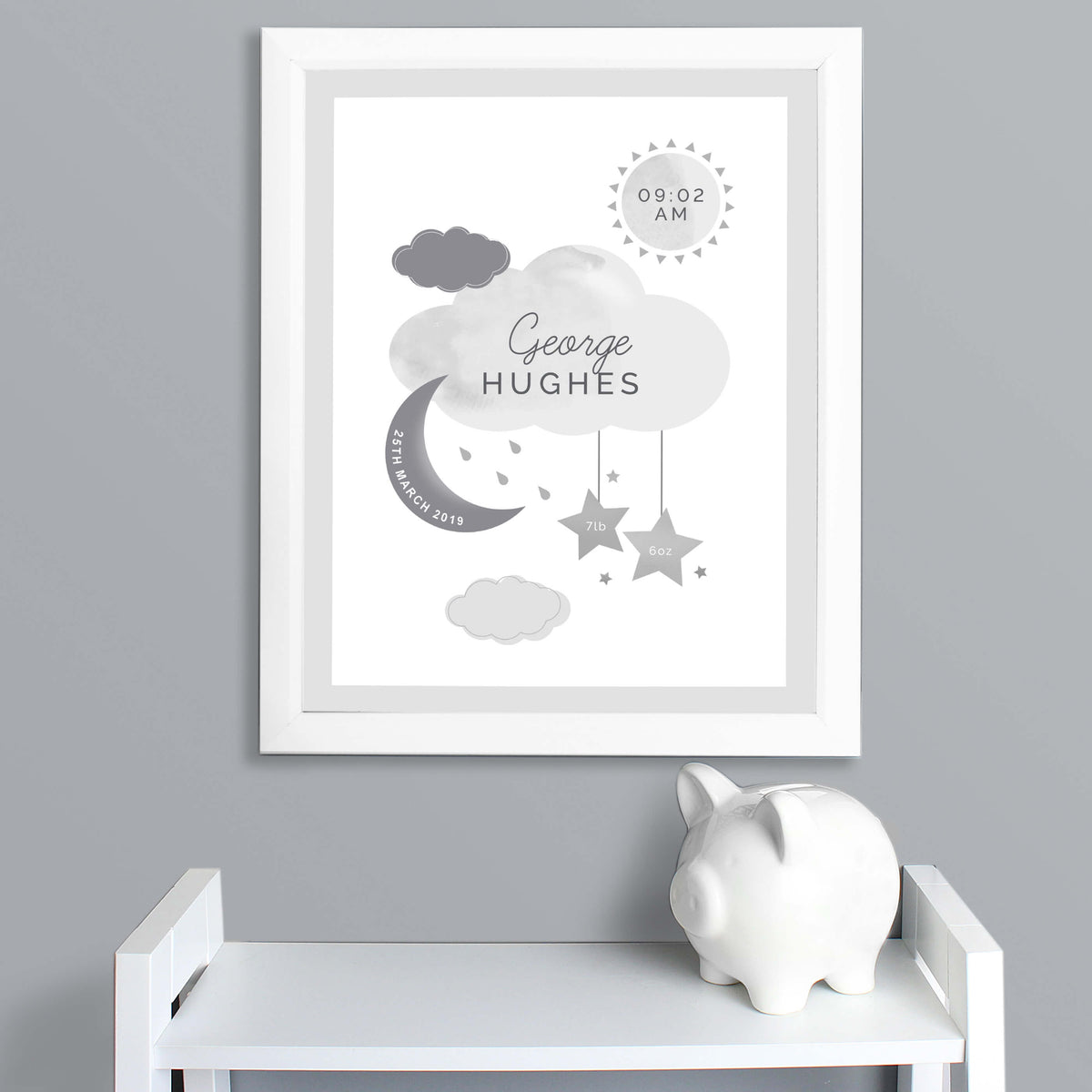 Personalised Moon & Stars New Baby Framed Print