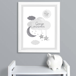 Personalised Moon and Stars New Baby Framed Print Main Image