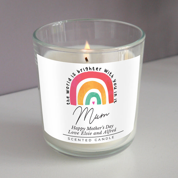 Personalised You Make The World Brighter Rainbow Scented Jar Candle