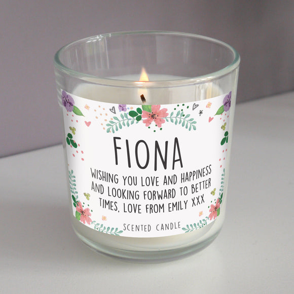 Personalised Floral Scented Jar Candle