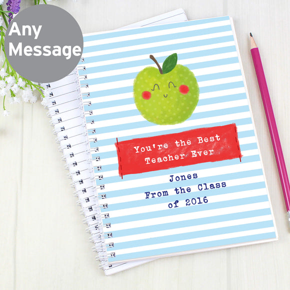 Personalised Apple for Teacher A5 Notebook