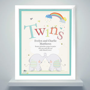 Hessian Elephant Twins Personalised Framed Print