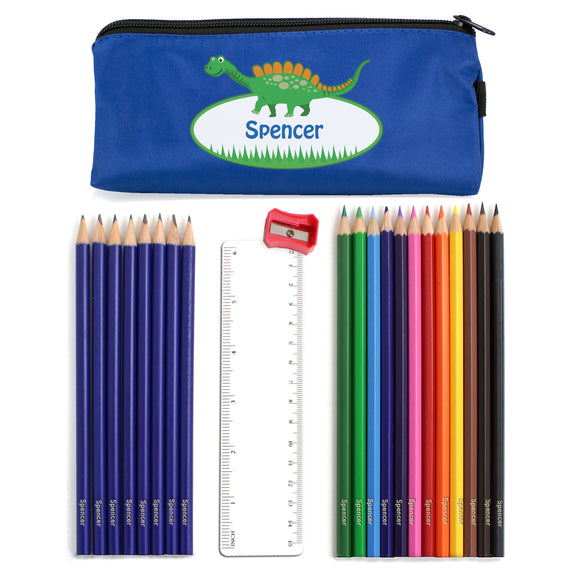 Blue Dinosaur Pencil Case with Personalised Pencils & Crayons