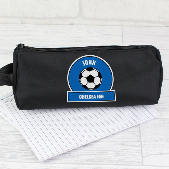 Personalised Dark Blue Football Fan Pencil Case