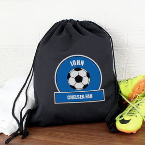 Personalised Dark Blue Football Fan Swim & Kit Bag
