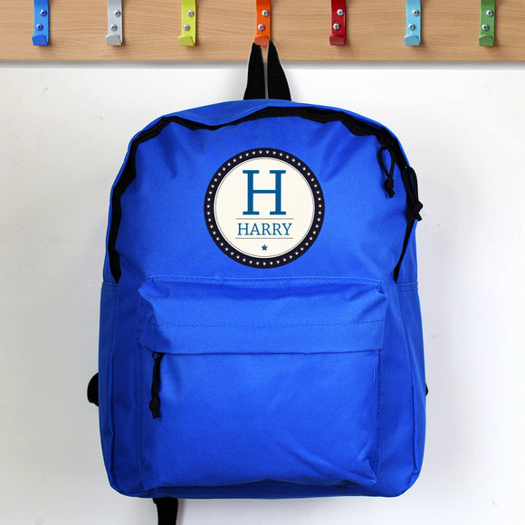 Personalised Star Name Blue Backpack