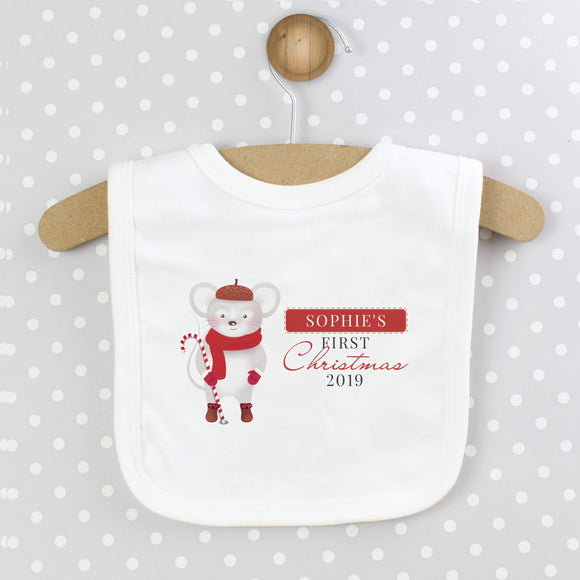 Personalised 1st Christmas Mouse Baby Bib