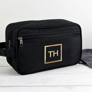 Personalised Black Wash Bag with Gold Initials Main Image