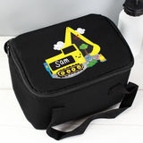 Personalised Black Digger Lunch Bag