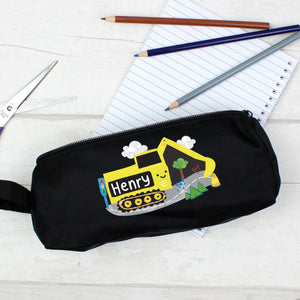 Personalised Black Digger Pencil Case