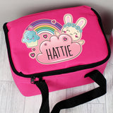 Personalised Pink Cute Bunny Lunch Bag