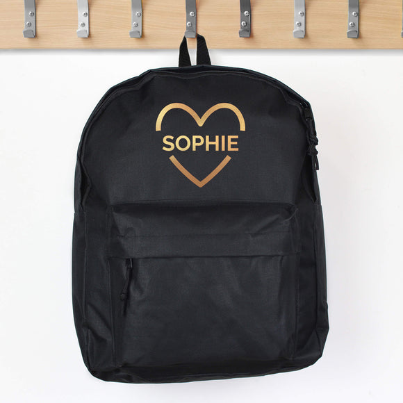 Personalised Black School Bag with Gold Heart and Lettering