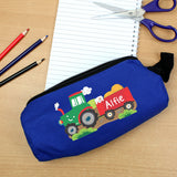 Personalised Blue Tractor Pencil Case
