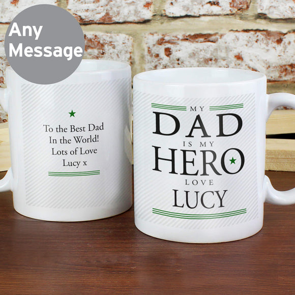 Personalised My Dad Is My Hero Father's Day Mug Main Image