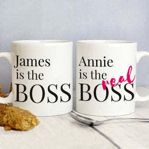 Personalised The Boss Couples Set of Mugs
