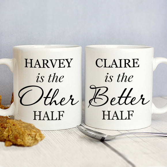 Personalised Other/Better Half Couples Set of Mugs