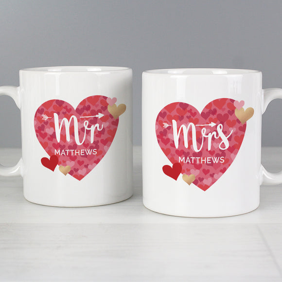 Personalised Mr & Mrs Heart Mugs