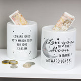Personalised To the Moon and Back Ceramic Money Box
