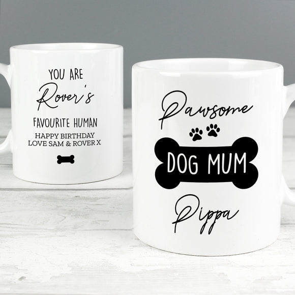 Personalised Pawsome Dog Mum Mug