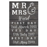 Personalised Mr & Mrs First Day, Yes Day, Best Day Metal Sign