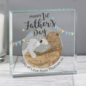 Personalised Daddy Bear 1st Father's Day Crystal Token Main Image