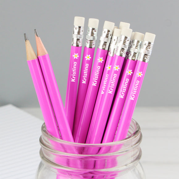 Personalised Flower Motif Pink Pencils
