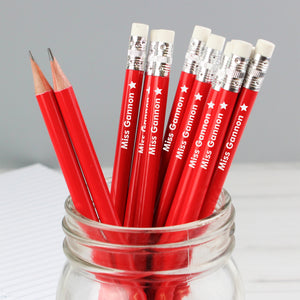 Personalised Star Motif Red Pencils