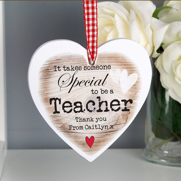 Personalised Special Teacher Hanging Heart