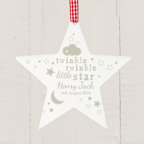Personalised Twinkle Twinkle Star Decoration