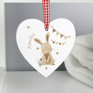 Personalised Heart Shaped Hanging Decoration with Bunny