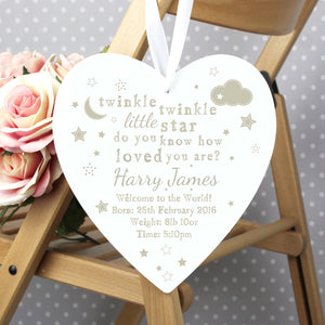 Personalised Wooden Heart Twinkle Twinkle Hanging Sign