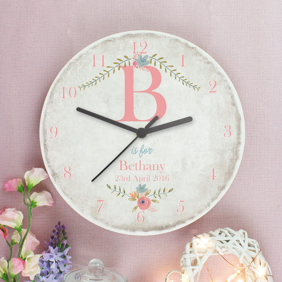 Personalised Initial Shabby Chic Large Wooden Clock Main Image