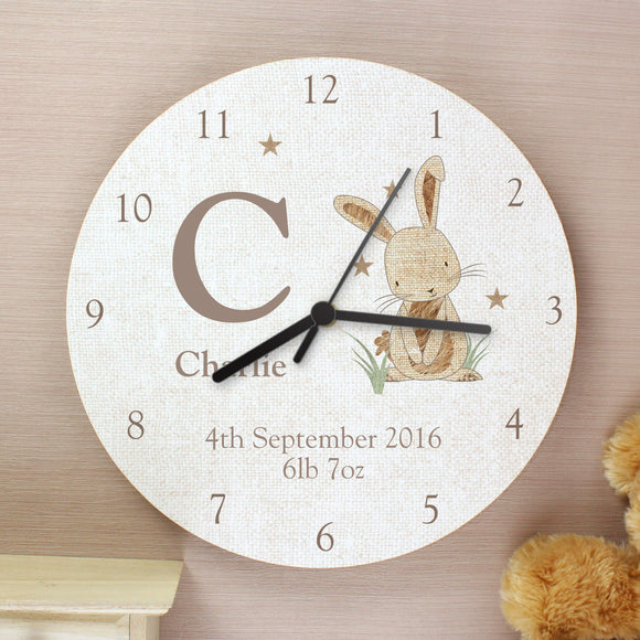 Personalised Hessian Rabbit Wooden Clock for Nursery