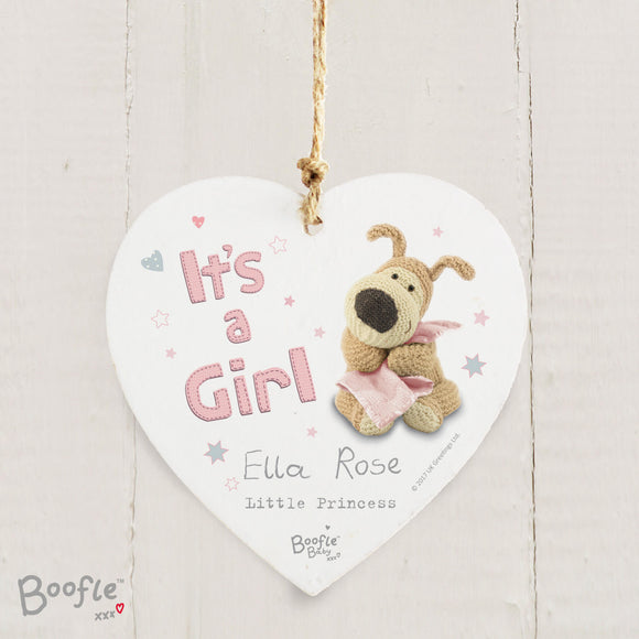 Personalised Boofle It's A Girl Hanging Heart