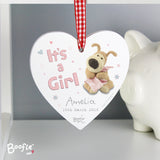 Personalised Boofle It's A Girl Hanging Heart Image 2
