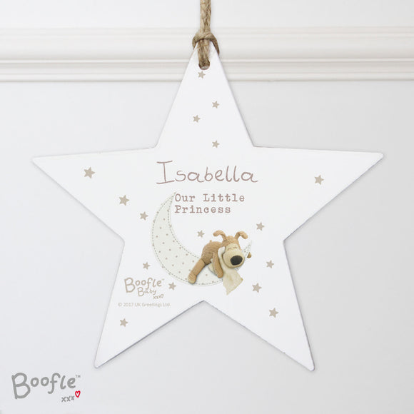 Personalised Boofle Wooden Star Decoration New Baby