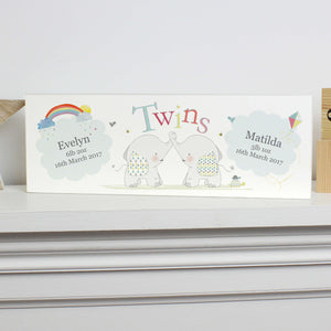 Personalised Twins Wooden Block Nursery Sign