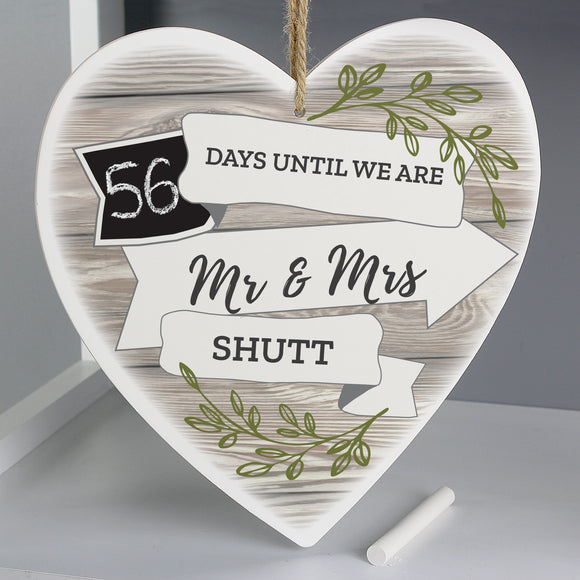 Personalised Wedding Countdown Heart Hanging Sign