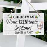Personalised Christmas Gin Wooden Hanging Sign
