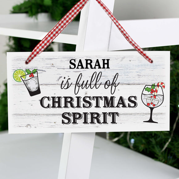 Personalised Christmas Spirit Wooden Hanging Sign
