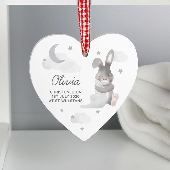 Personalised New Baby Bunny Hanging Heart Main Image