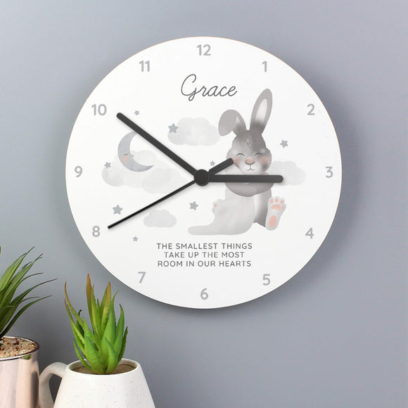 Personalised Bunny New Baby Nursery Clock