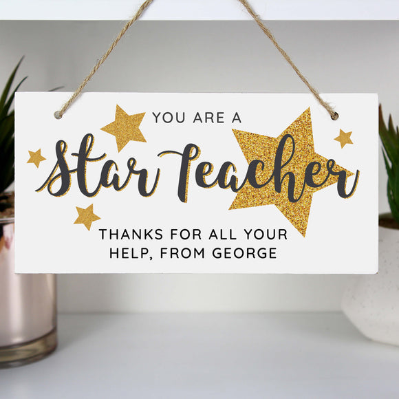 Star Teacher Hanging Plaque