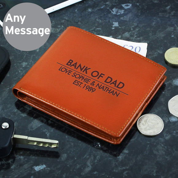 Personalised Classic Leather Wallet Tan Main Image