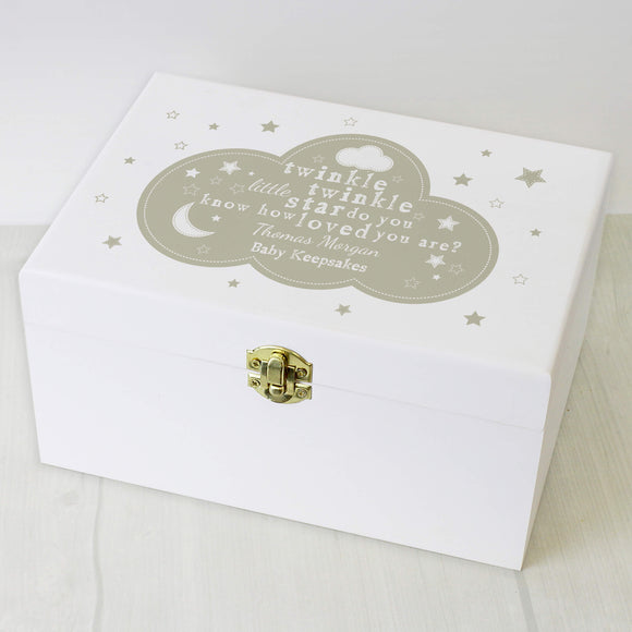 Twinkle Twinkle White Personalised Keepsake Box