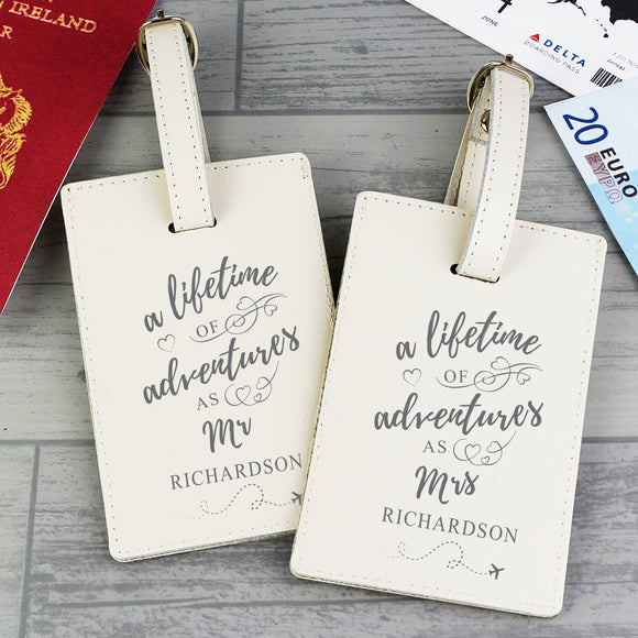 Personalised A Lifetime of Adventures Mr & Mrs Luggage Tags