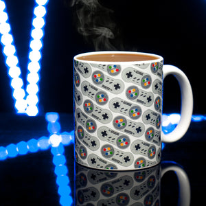 SNES Controller Mug Lifestyle Image with Coffee
