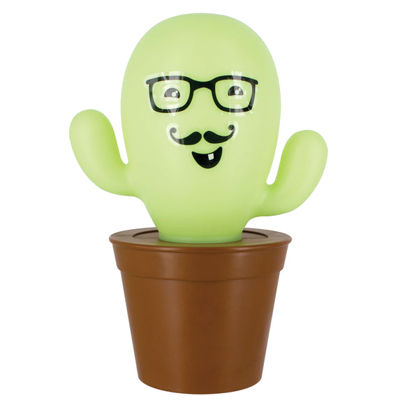 Cactus Lamp With Glasses and Moustache