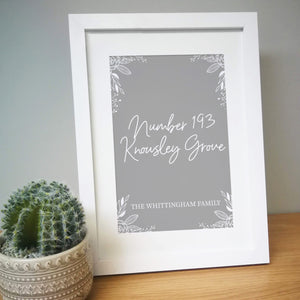 Personalised Grey Home A4 Framed Print