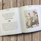 Close up of inside of Personalised Peter Rabbit book, showing story and illustration